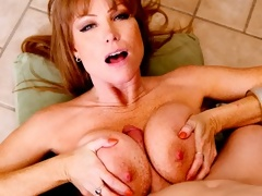 Freckled redhead MILF fucked between her bigtits