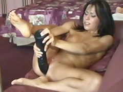 Two anal dildos make Kream ejaculate cum like crazy
