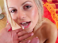 Let Sabine take you on a sexual journey as she plays with her pussy then sucks off a stiff cock