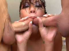 London Keyes gets her throat gangbanged on a hot summer day