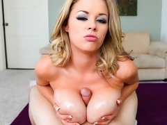 Lucky guy gets dick between Katie Kox's perfect boobs