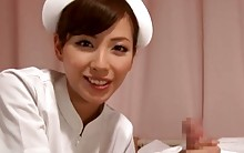 Japanese Nurse Strokes a Patient During a Blowjob
